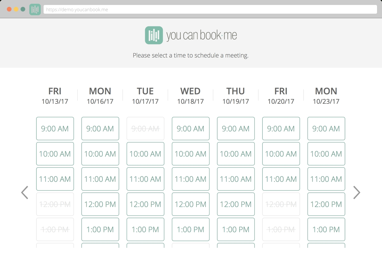 Powerful Features To Make Online Scheduling Easy - Youcanbook throughout Appointment Page With Time Slots