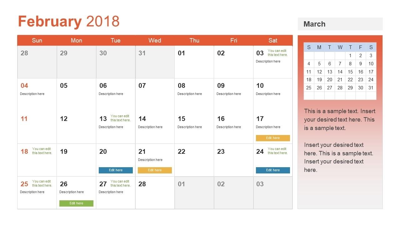 Powerpoint Calendar Template Year 2018 - Slidemodel throughout Basic Monthly Calendar For Editing