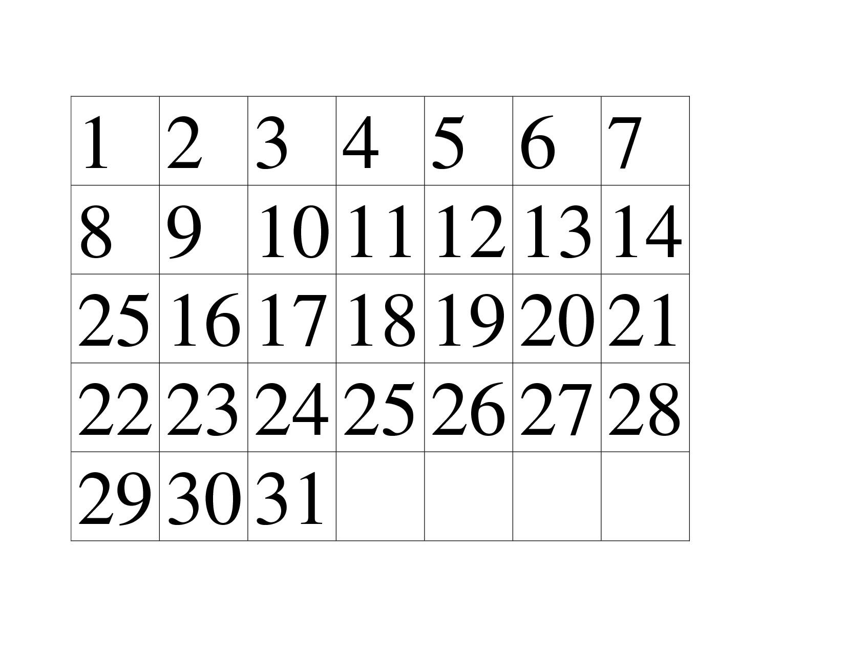 Preschool Printables Calendar Numbers Free Calendar Template Example regarding Printable Preschool Numbers 1 31