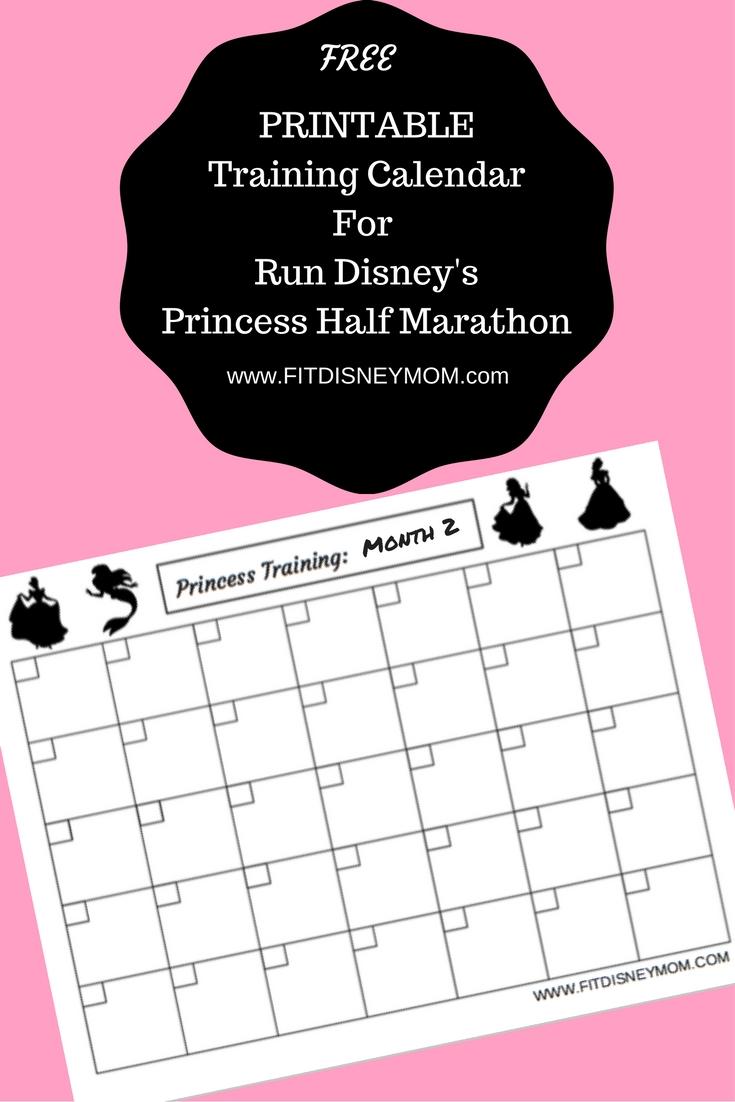 Princess Half Printable Training Calendar And Giveaway! | Savvy Mama regarding Disney Printable Calendars By Month