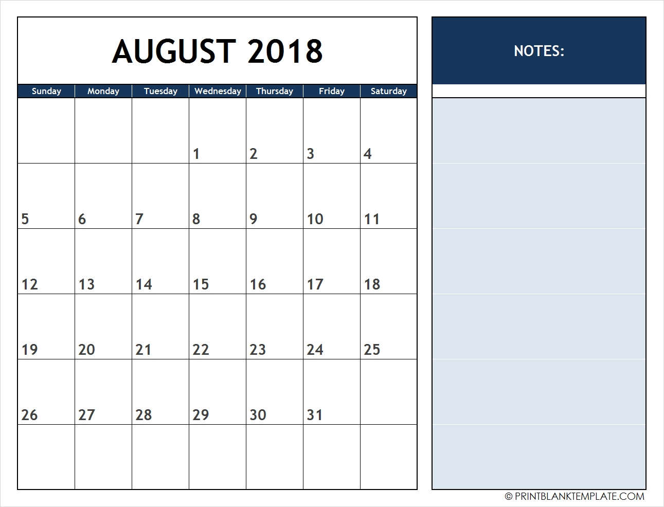 Print 12 Months Calendar Templates Free with 12 Month Calendar With Room For Notes