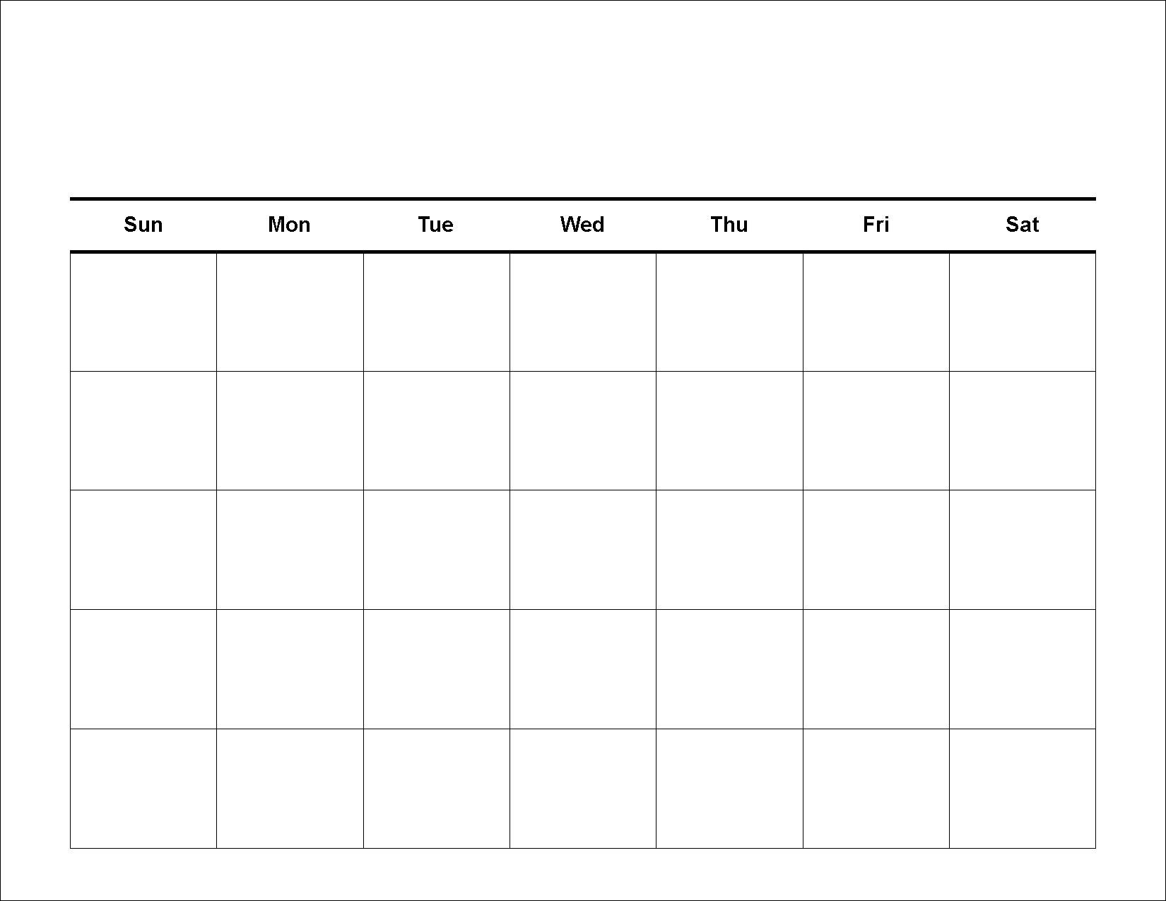 Print A Blank Calendar – 2017 Printable Calendar for 5 Day Week Blank Calendar Printable