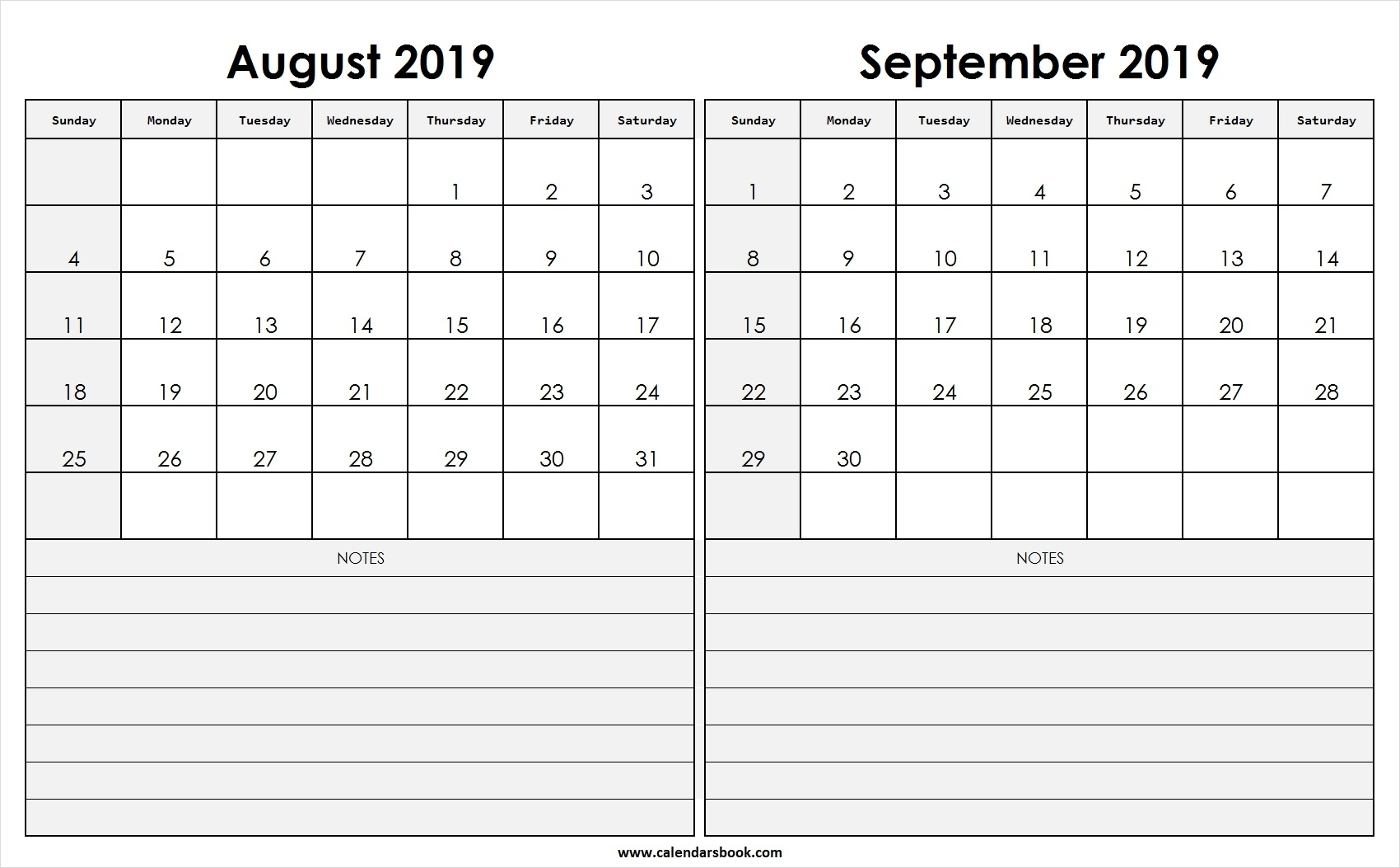Print August September 2019 Calendar Template | 2 Month Calendar pertaining to August And Septmber Calendar Together