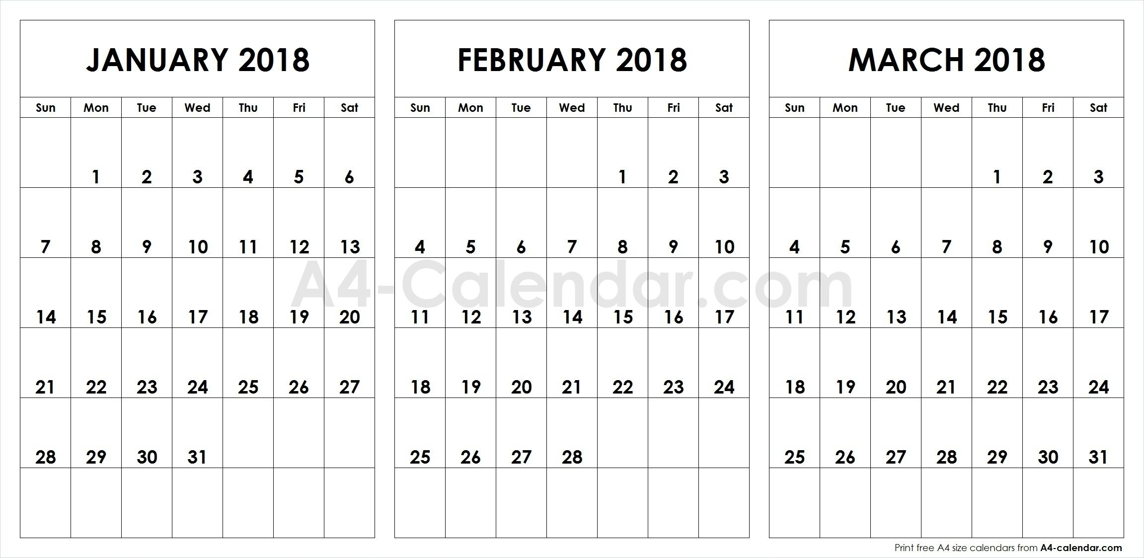 Print Free Blank January February March 2018 A4 Calendar Template inside 3 Month Calendar To Ptint