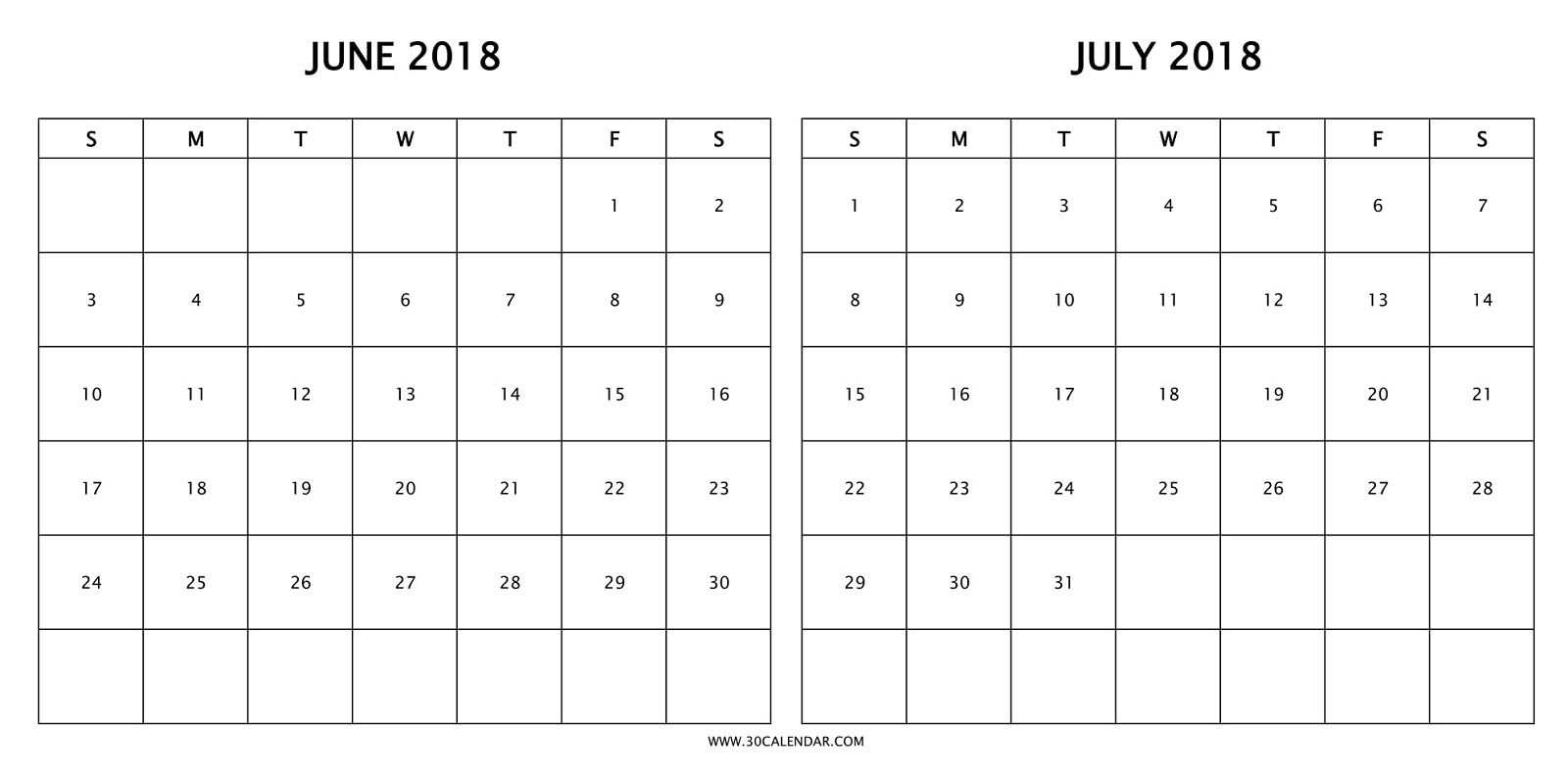 Print Free Two Month Calendar 2018 June July With Holidays | 2018 for Print Month Of June And July