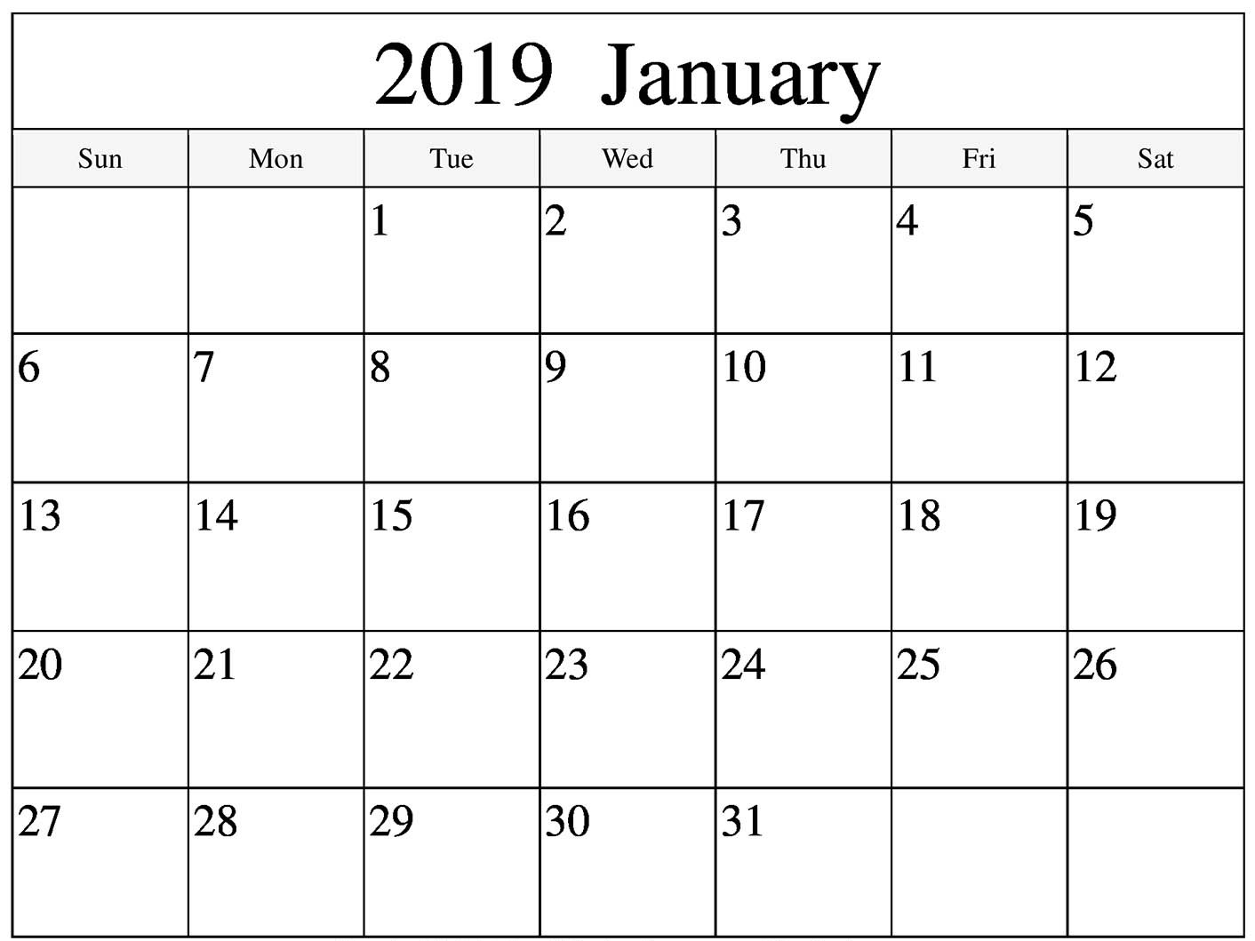 Print January 2019 Calendar - Printable Calendar Templates within Picture Of A January Calender