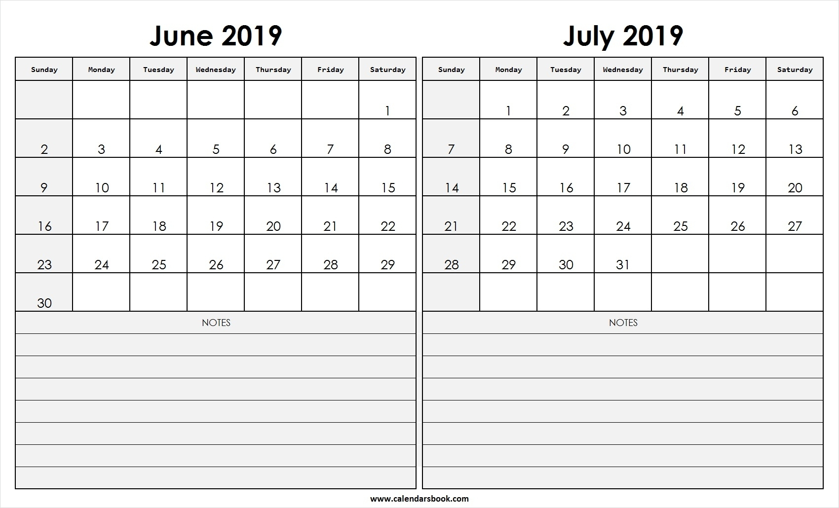 Print June July 2019 Calendar Template | 2 Month Calendar regarding 2 Month Calendar Template June July