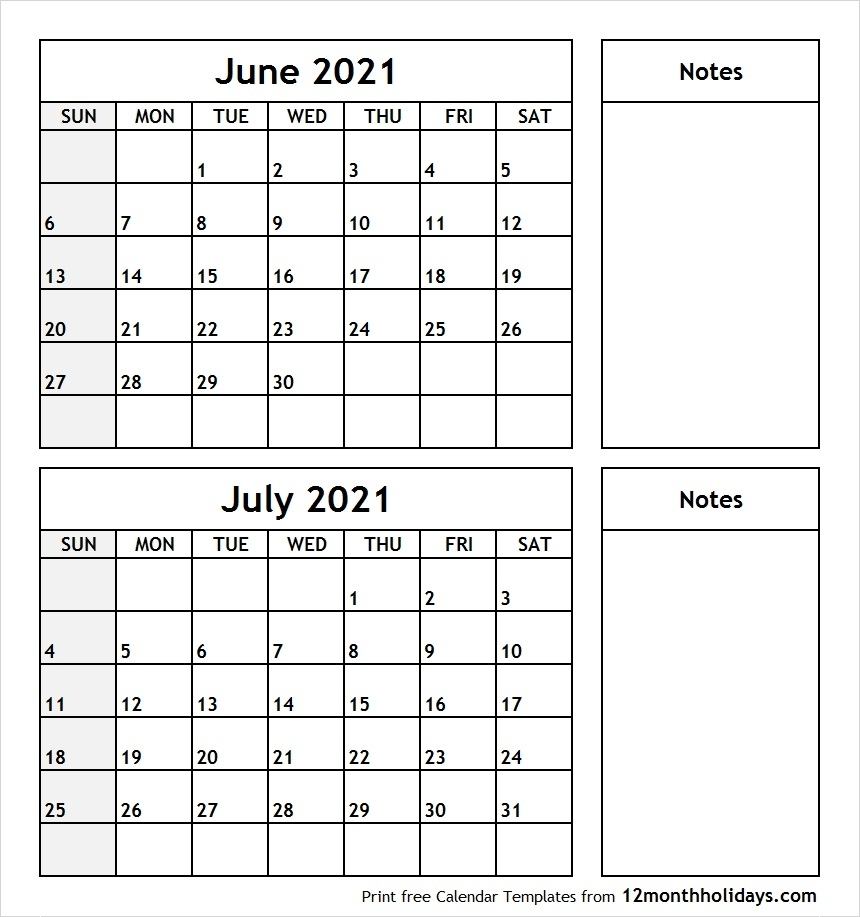 Print June July 2021 Calendar Template | 2 Month Calendar in Print Month Of June And July
