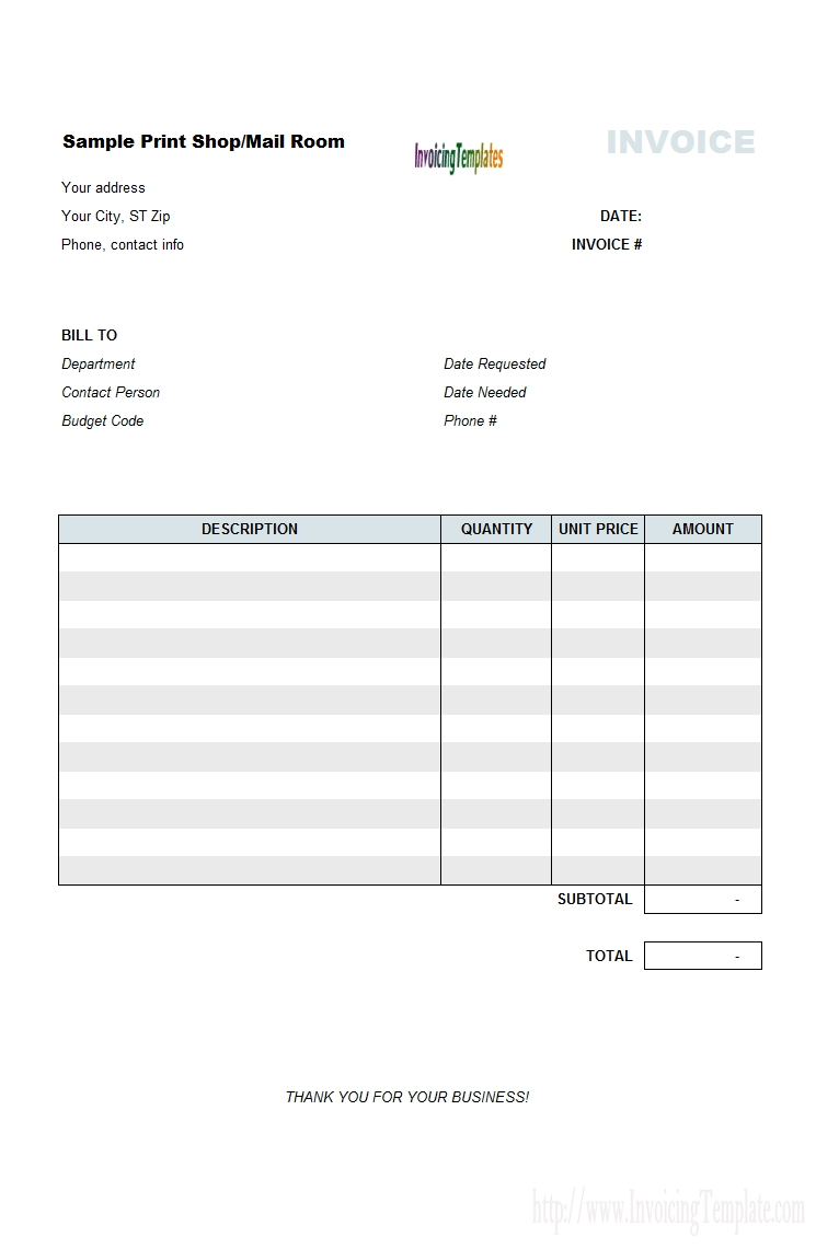 Print Shop Bill Sample with Template For Bills To Print