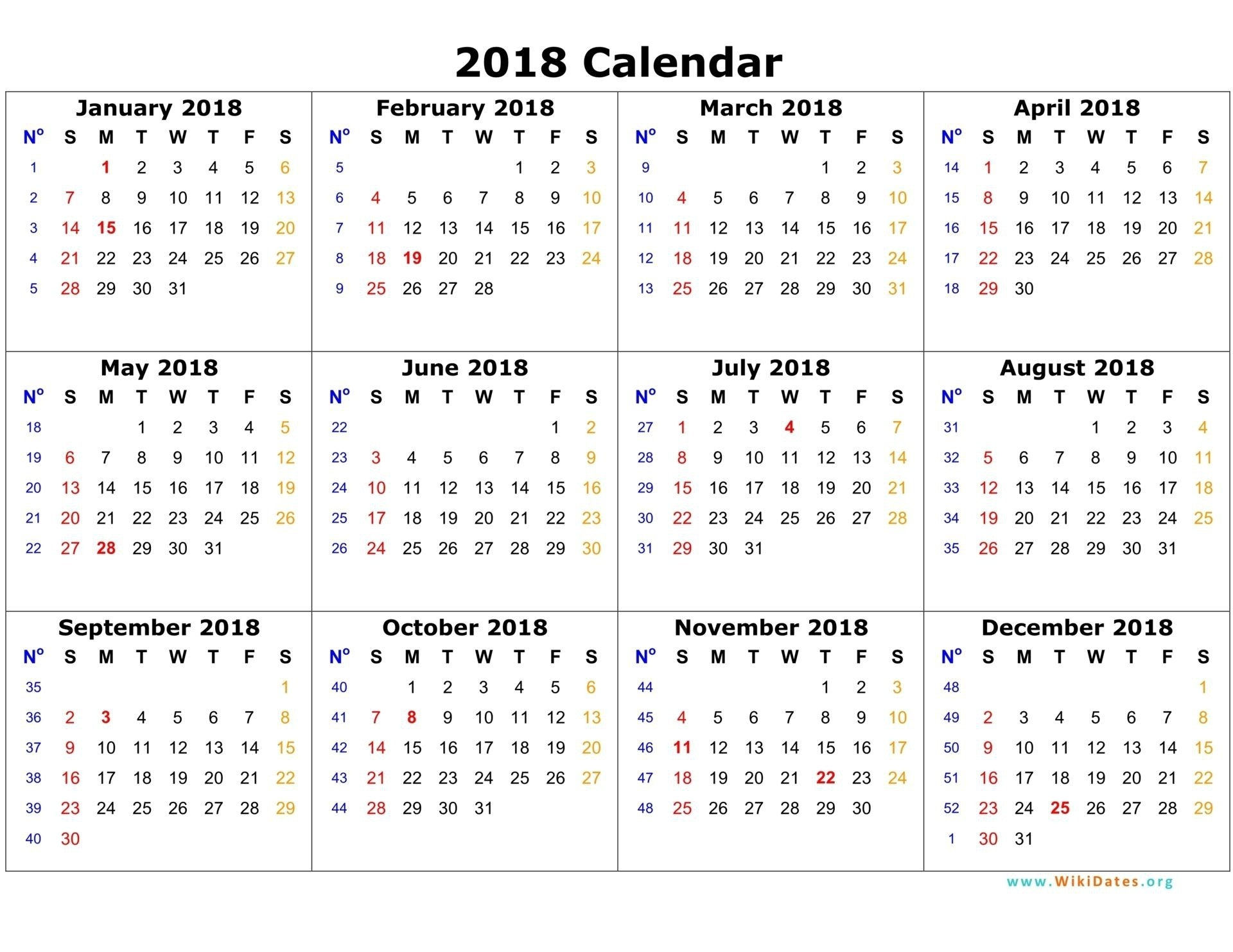 Printable 12 Month Calendar On One Page Free 2018 Calendar Printable regarding 12 Month One Page Calendar
