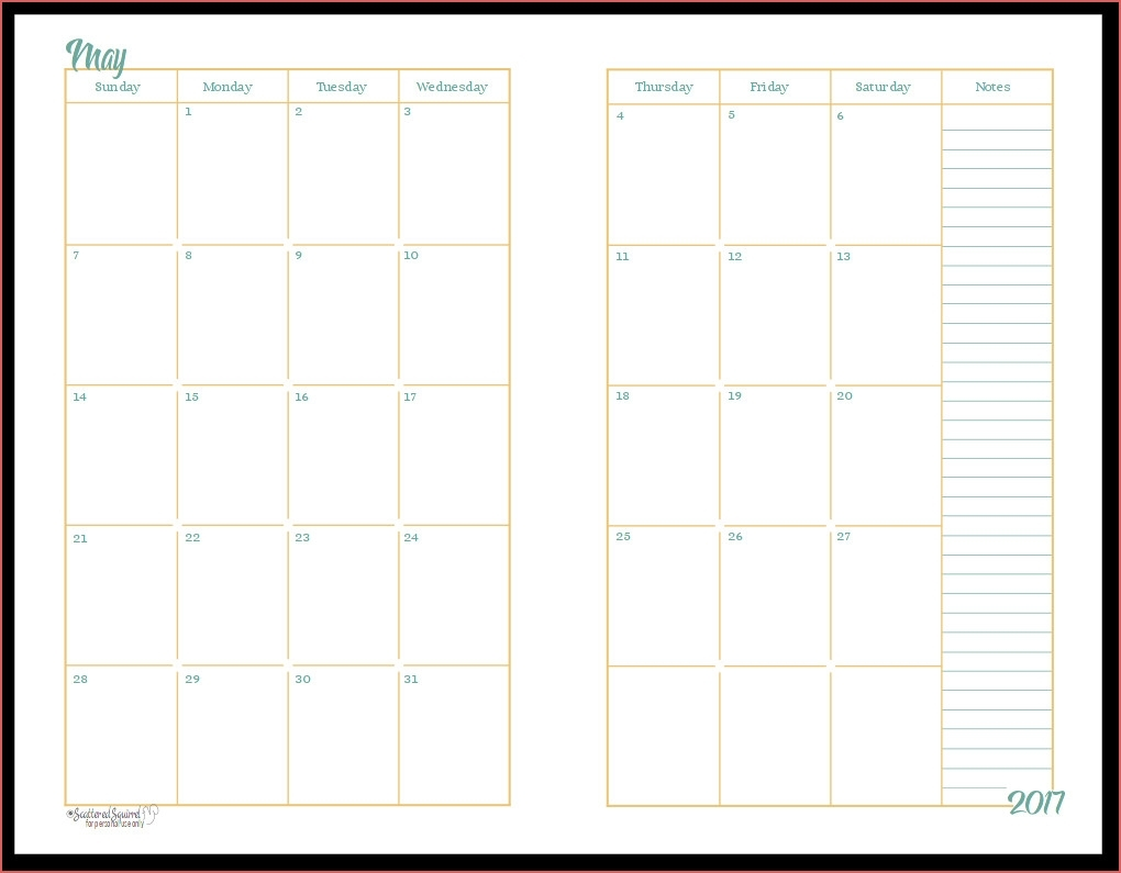 Printable 2 Month Calendar 2017 Half Size Monthly Calendar throughout Full Page Monthly Calendar Printable