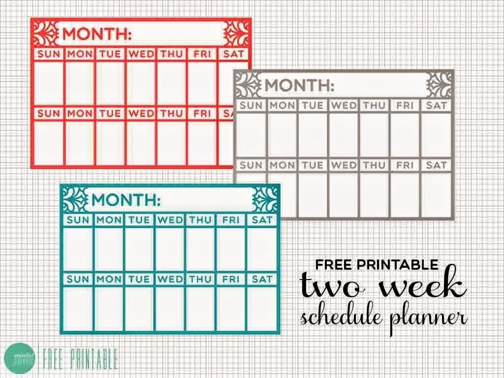 Printable 2 Week Calendar Template Free Two Week Calendar Template within Blank Two Week Calendar Template