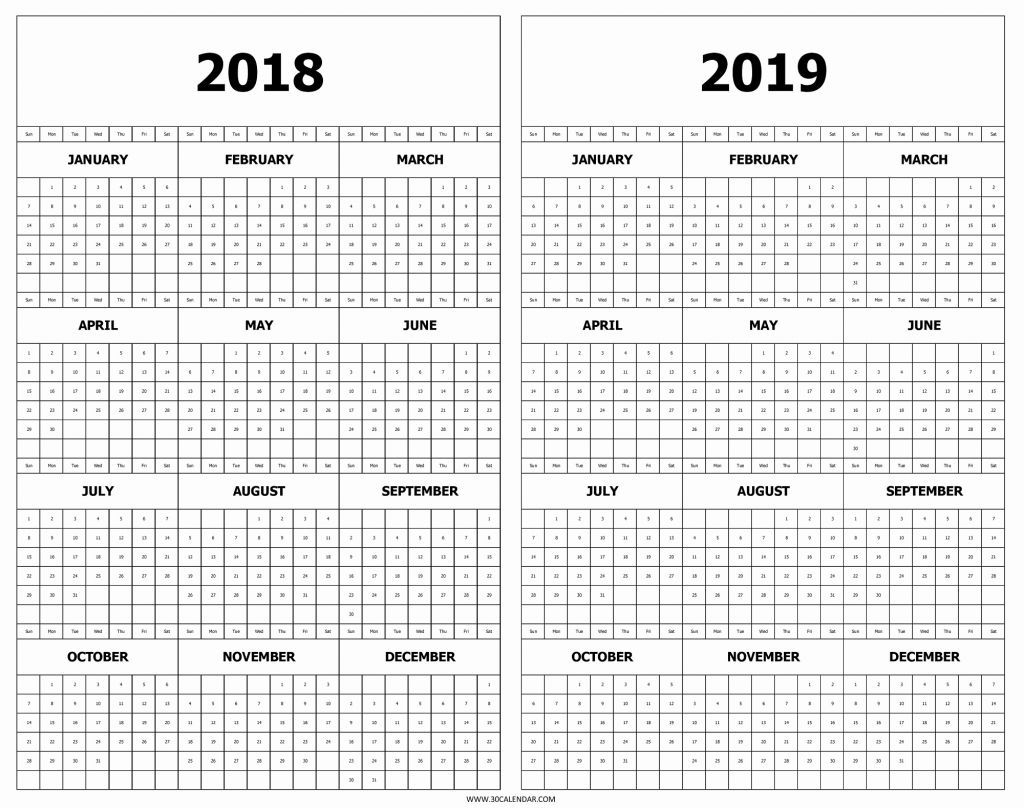 Printable 2018 2019 Calendar Calendar 2018 And 2019 Printable Free 2 with Calendar Template Year At A Glance