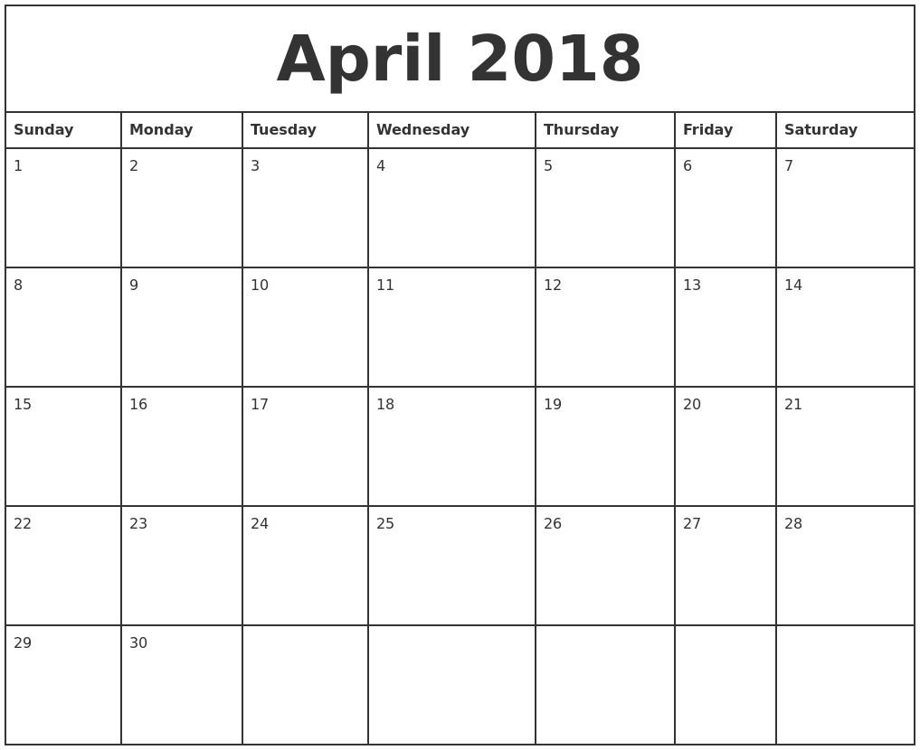 Printable 2018 Monthly Calendar Printable Calendar Templates 2018 regarding Blank Monthly Calendar Printable Template