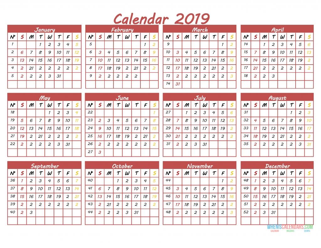 Printable 2019 12 Month Calendar Template Pdf, Word, Excel | Free with 12 Month Calendar Word Template