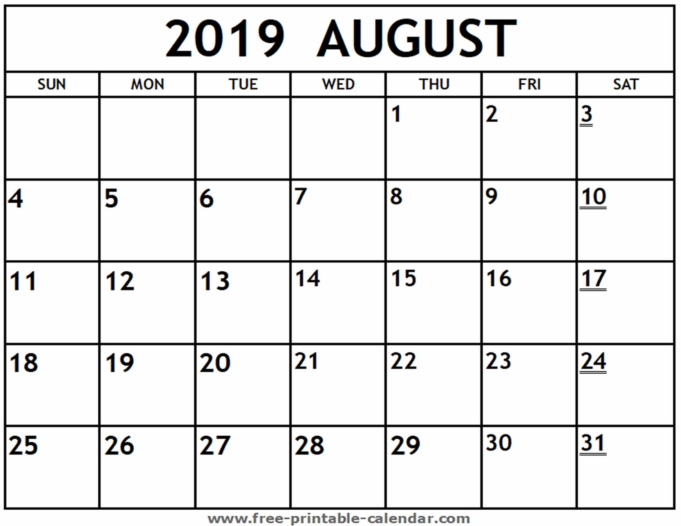 Printable 2019 August Calendar - Free-Printable-Calendar regarding Picture Of August On Calendar