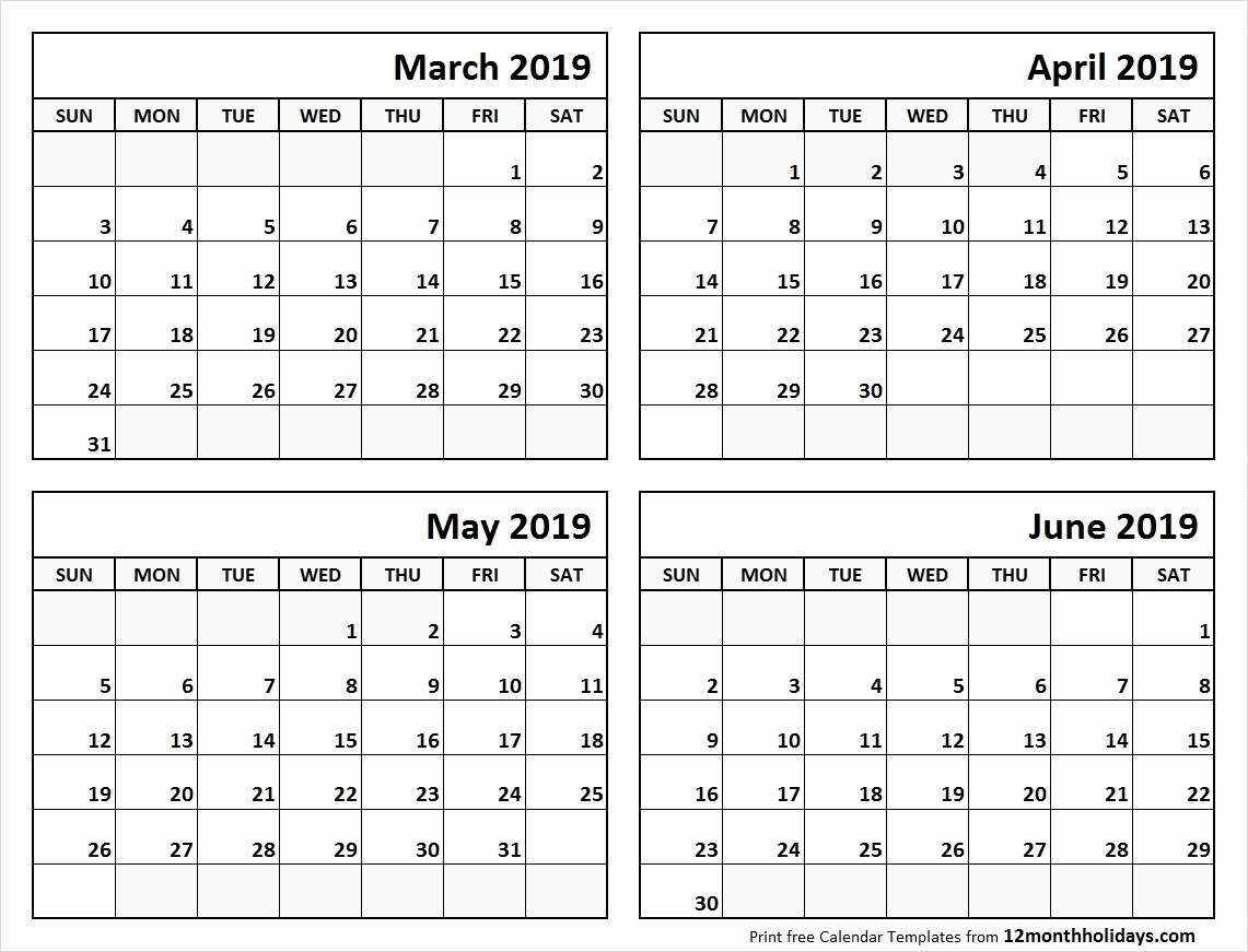 Printable 2019 Calendar 4 Months Per Pge 2019 Calendar Templates And inside Calendar Template 3 Months Per Page