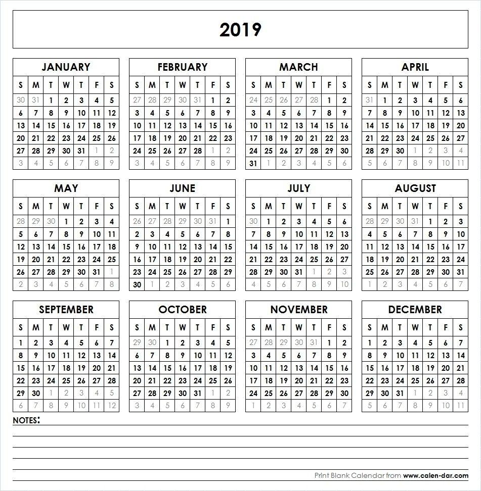 Printable 2019 Calendar At A Glance | Printable Calendar 2019 with Year Calendar At A Glance