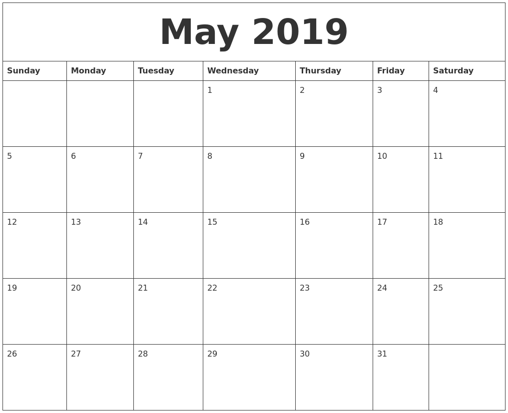Printable 2019 Calendar Templates - Maco.palmex.co for 2023 Calendar Printable One Page E Printable