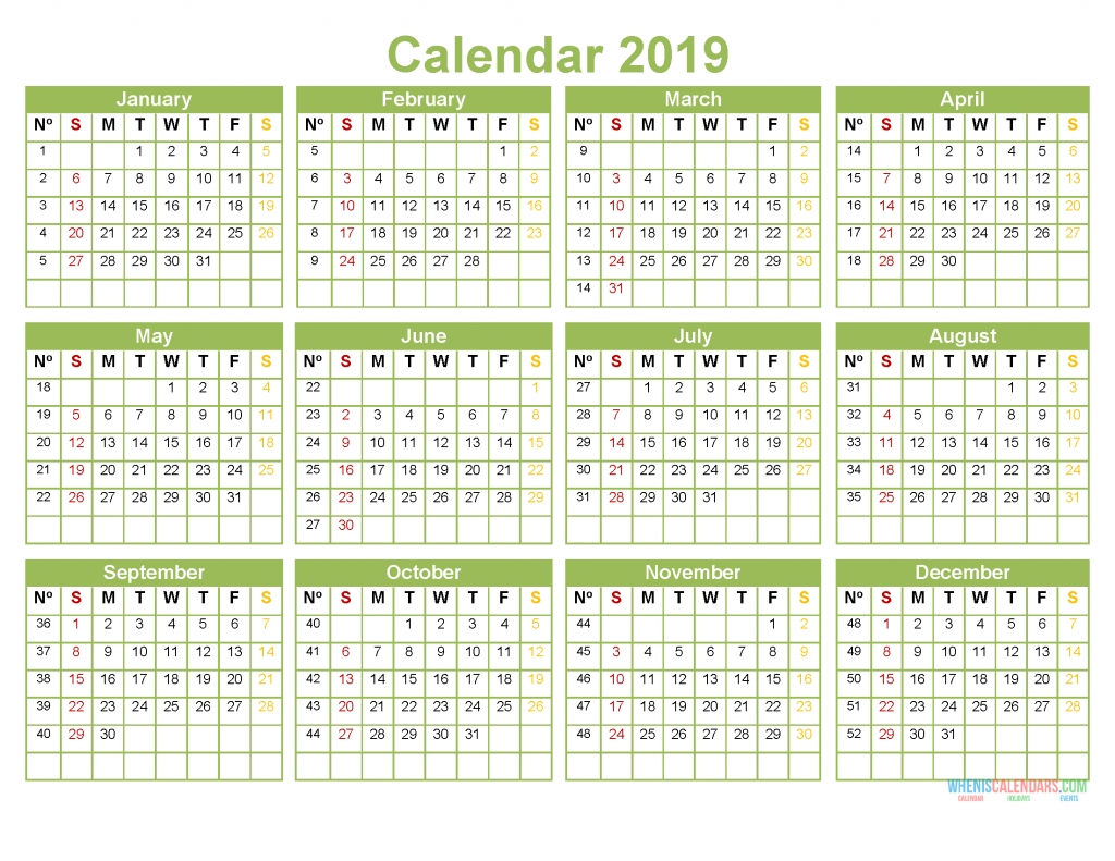 Printable 2019 Full Year Calendar Template Pdf [Us Edition] | Free within 12 Months Printable Calendar Whole