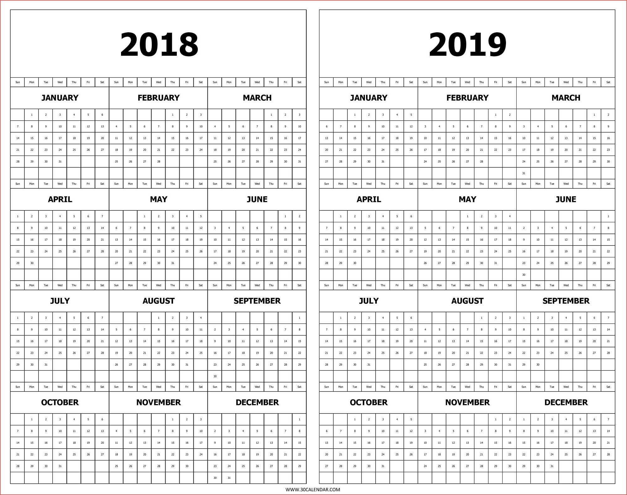 Printable 2019 Year Calendar Calendar 2018 And 2019 Printable Free 2 in Year Calendar At A Glance