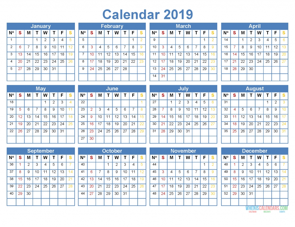 Printable 2019 Yearly Calendar Template Word, Excel, Pdf, Image for 12 Month Calendar Template Printable