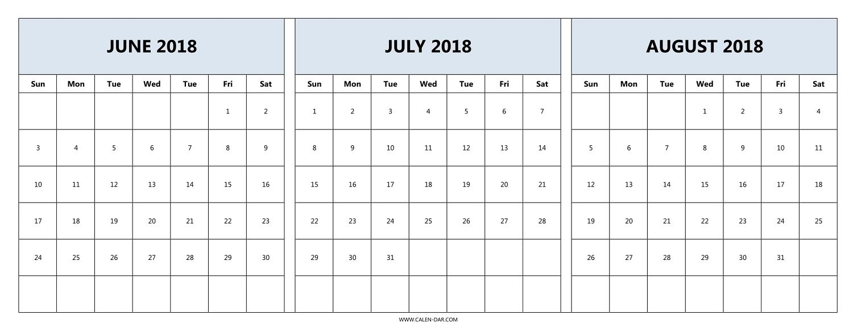 Printable 3 Month Calendar 2018 June July August   Printable within 3 Month Printable Calendar Online August