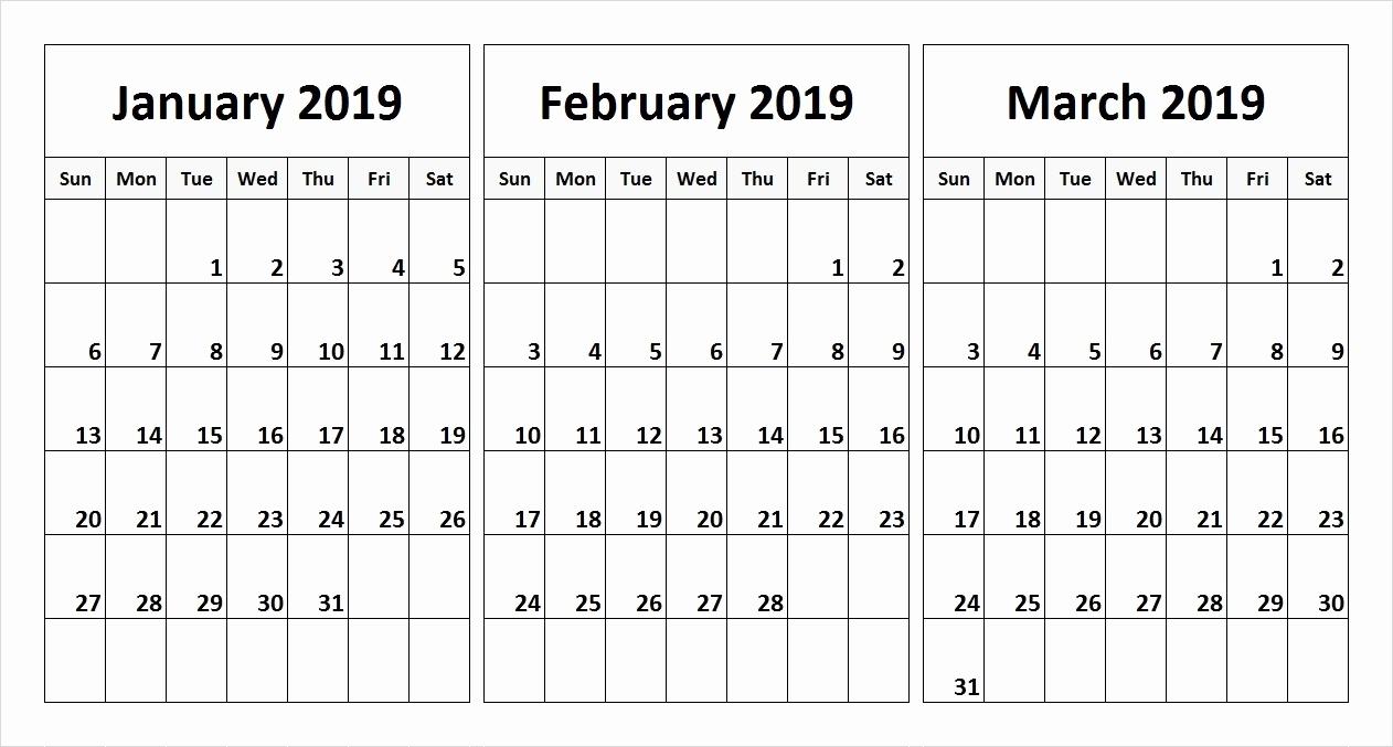 Printable 3 Month Calendar 2019 Free 2019 Calendar Templates And within Free Printable Calendar For 3 Months