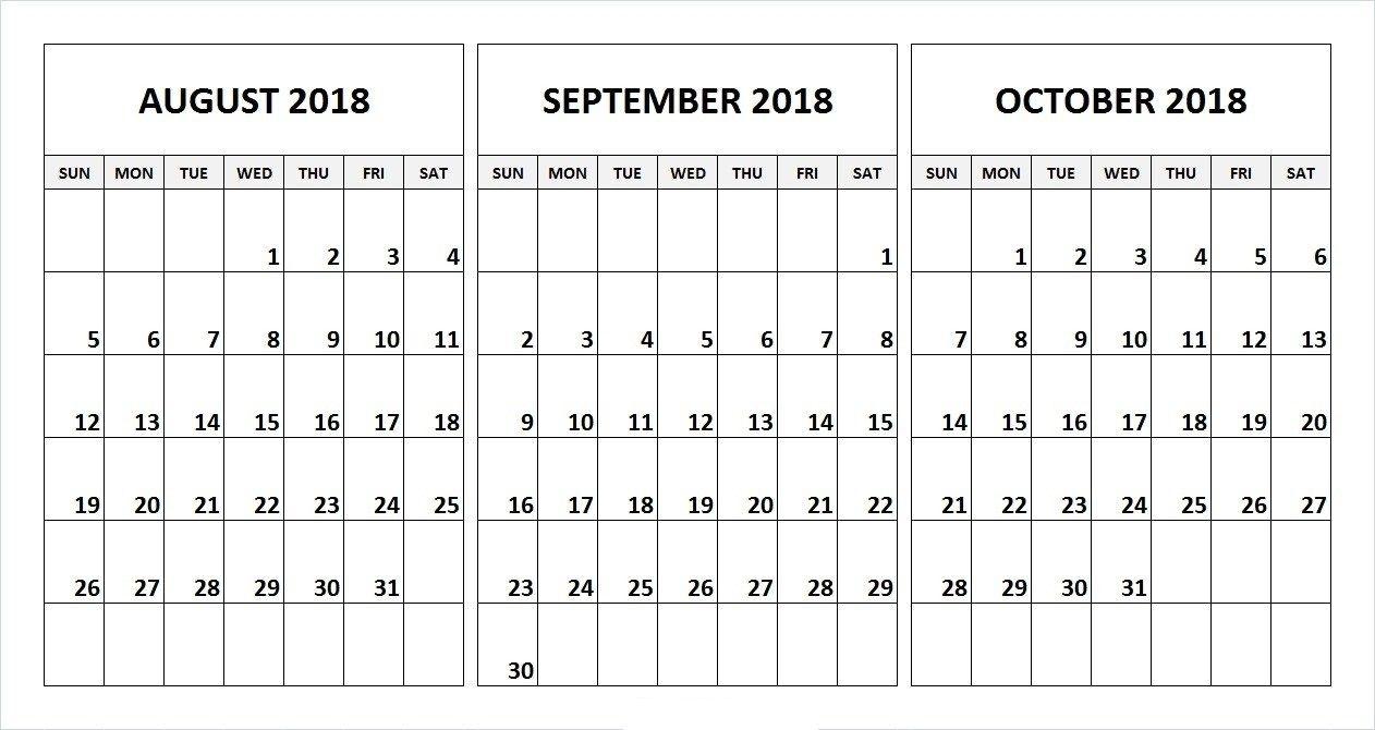 Printable 3 Month Calendar July August September 2018   Printable with 3 Month Printable Calendar Online August