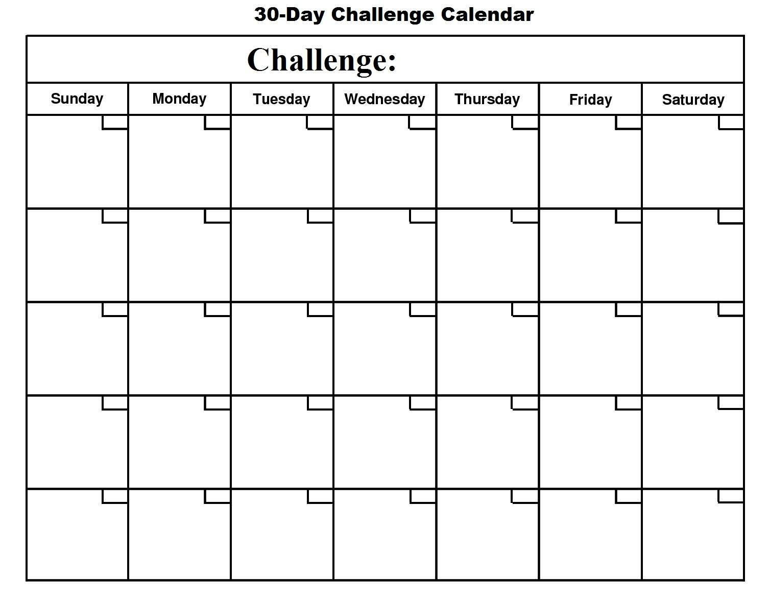 Printable 30 Day Calendar Blank 30 Day Calendar Template 2017 pertaining to Free Printable 30 Day Calendar