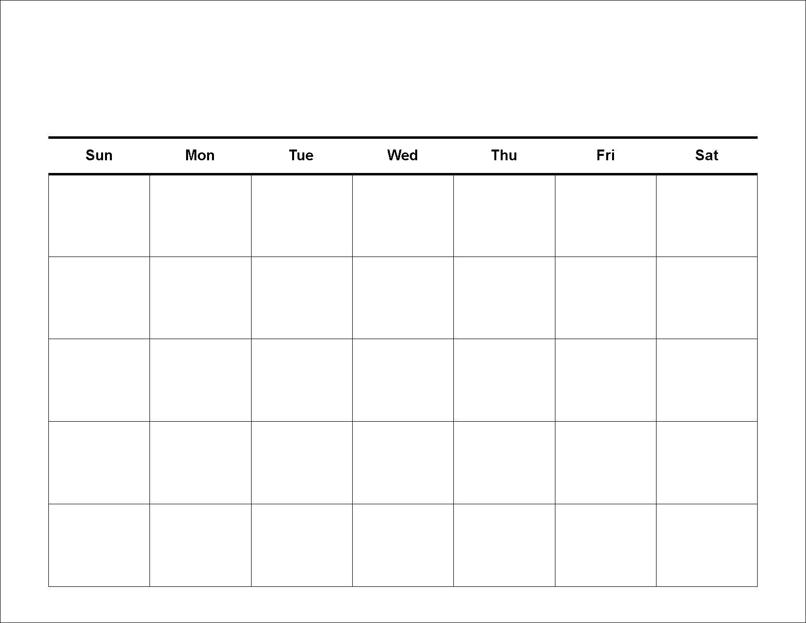 Printable 5 Day Monthly Calendar • Printable Blank Calendar Template for Printable 5 Day Monthly Calendar