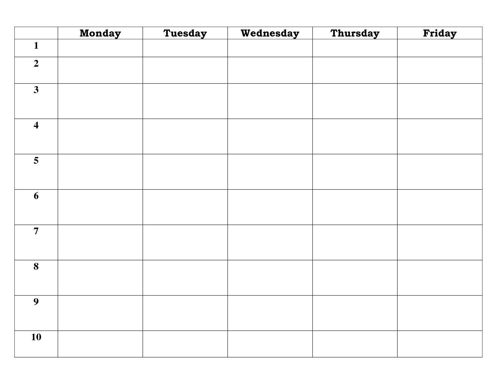 Printable 5 Day Working Week Calendar | Blank Calendar Template for Blank 5 Day Calendar Printable