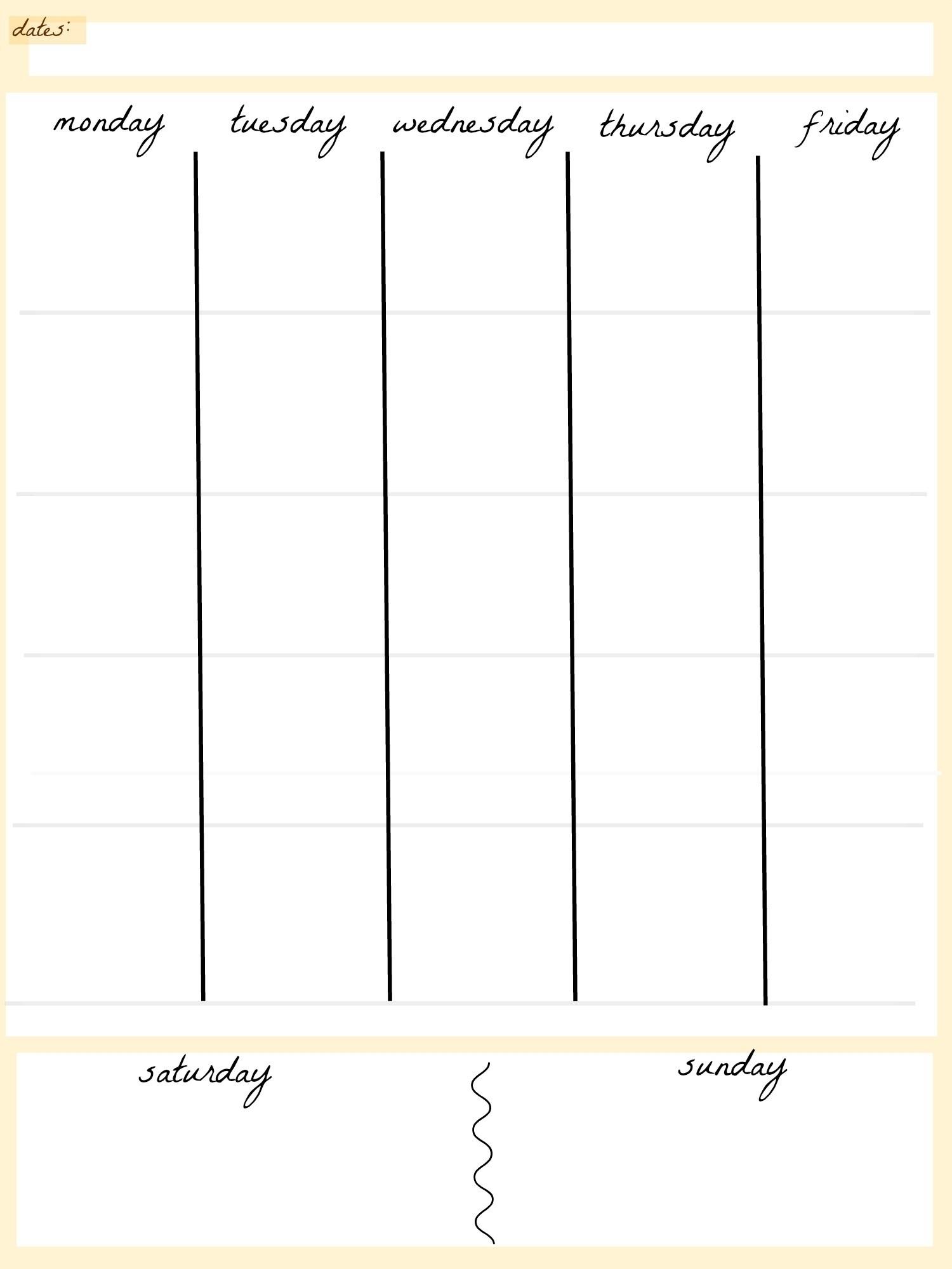 Printable 5 Week Calendar | Printable Calendar 2019 with regard to 5 Day Blank Calendar Printable