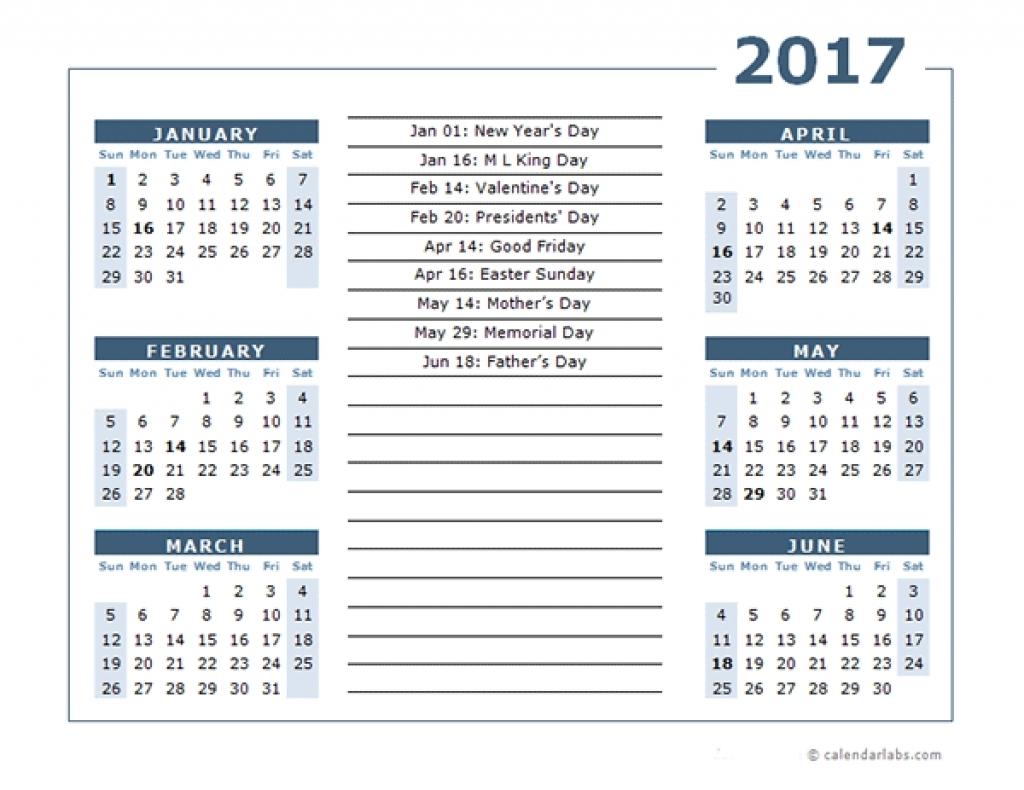 Printable 6 Month Calendar 2017 Calendar Template 6 Months Per Page inside Free Printable 6 Month Calendar