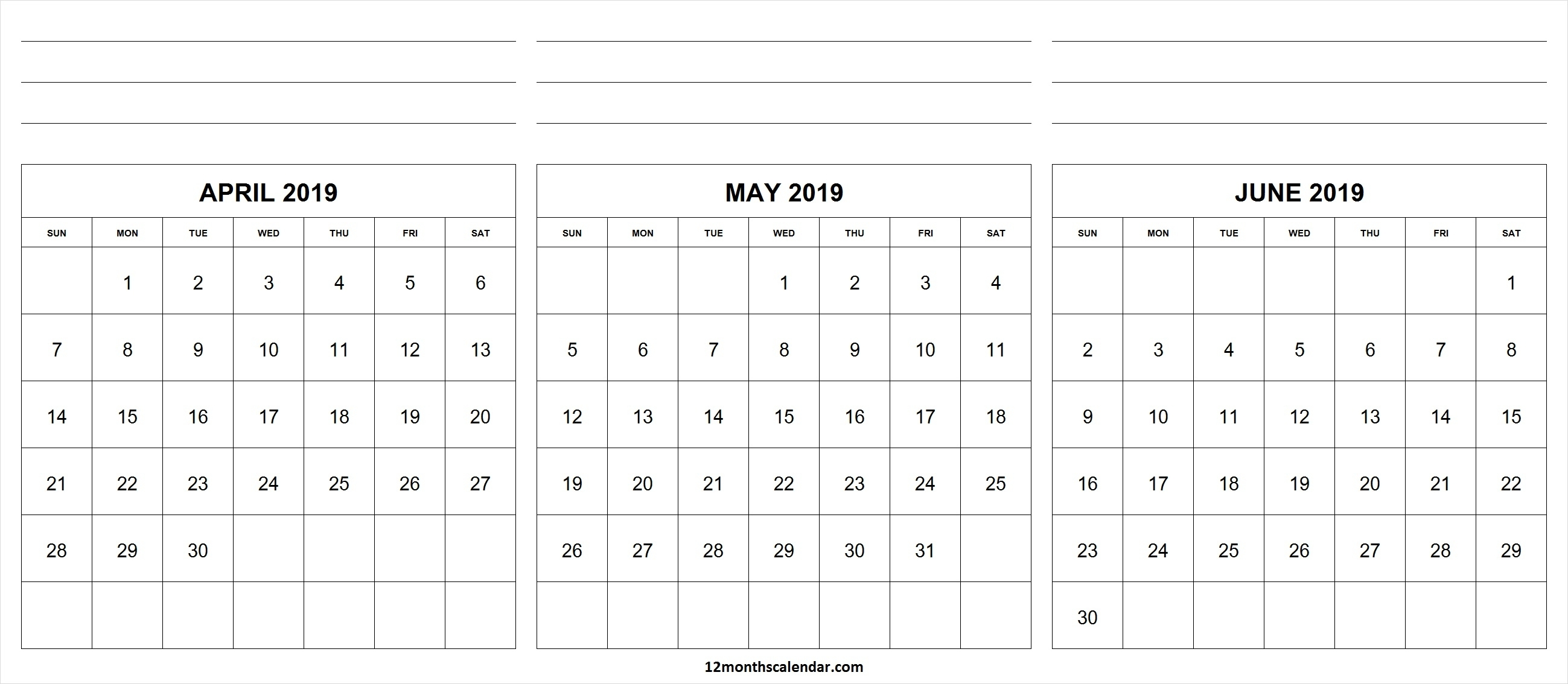 Printable April May June 2019 Calendar With Notes | 12 Month Calendar in 3 Month Calendar To Print