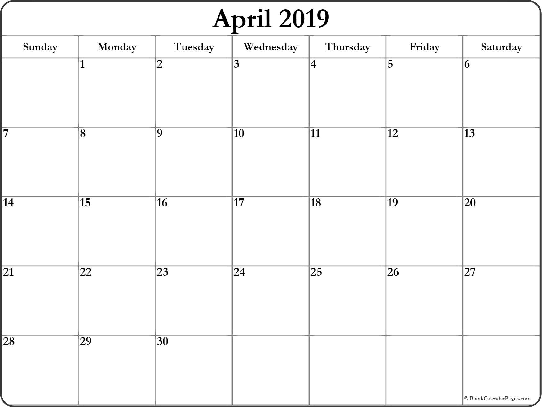 Printable Blank Calendar April 2019 - Free Printable Calendar inside Free Printable Blank Calendar Templates