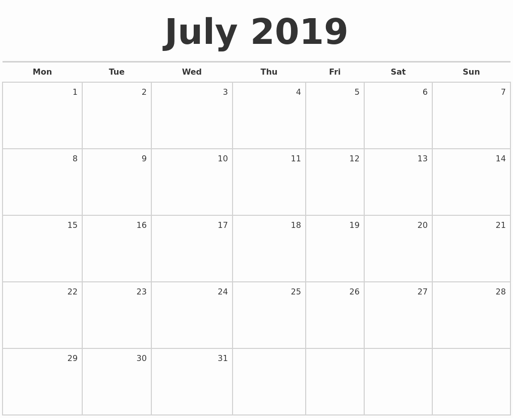 Printable Blank Calendar Template July 2019 July 2019 Blank Monthly pertaining to Printable Blank Monthly Calendar Template