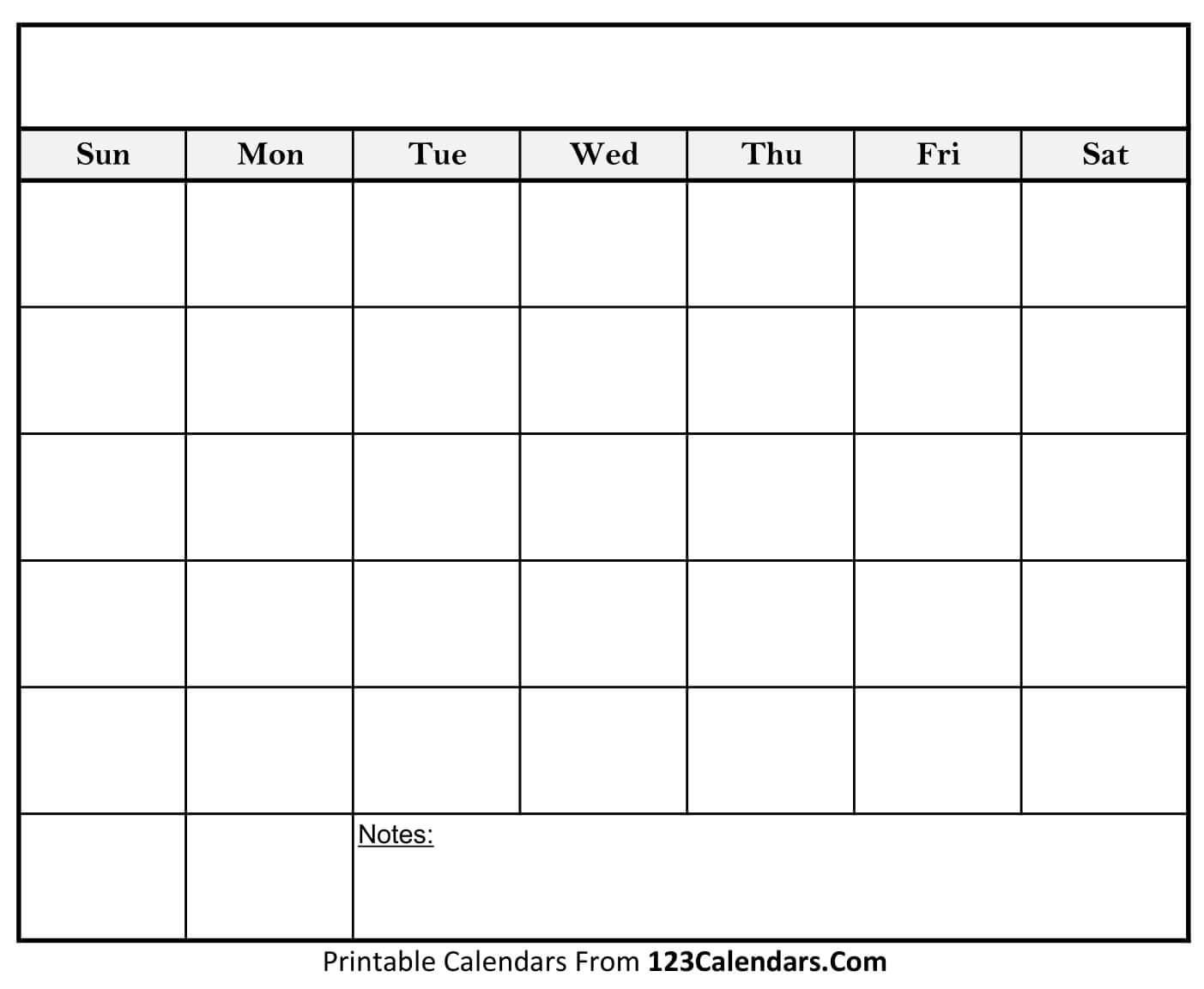 Printable Blank Calendar Templates - 123Calendars in Fill In Blank Calendar Templates