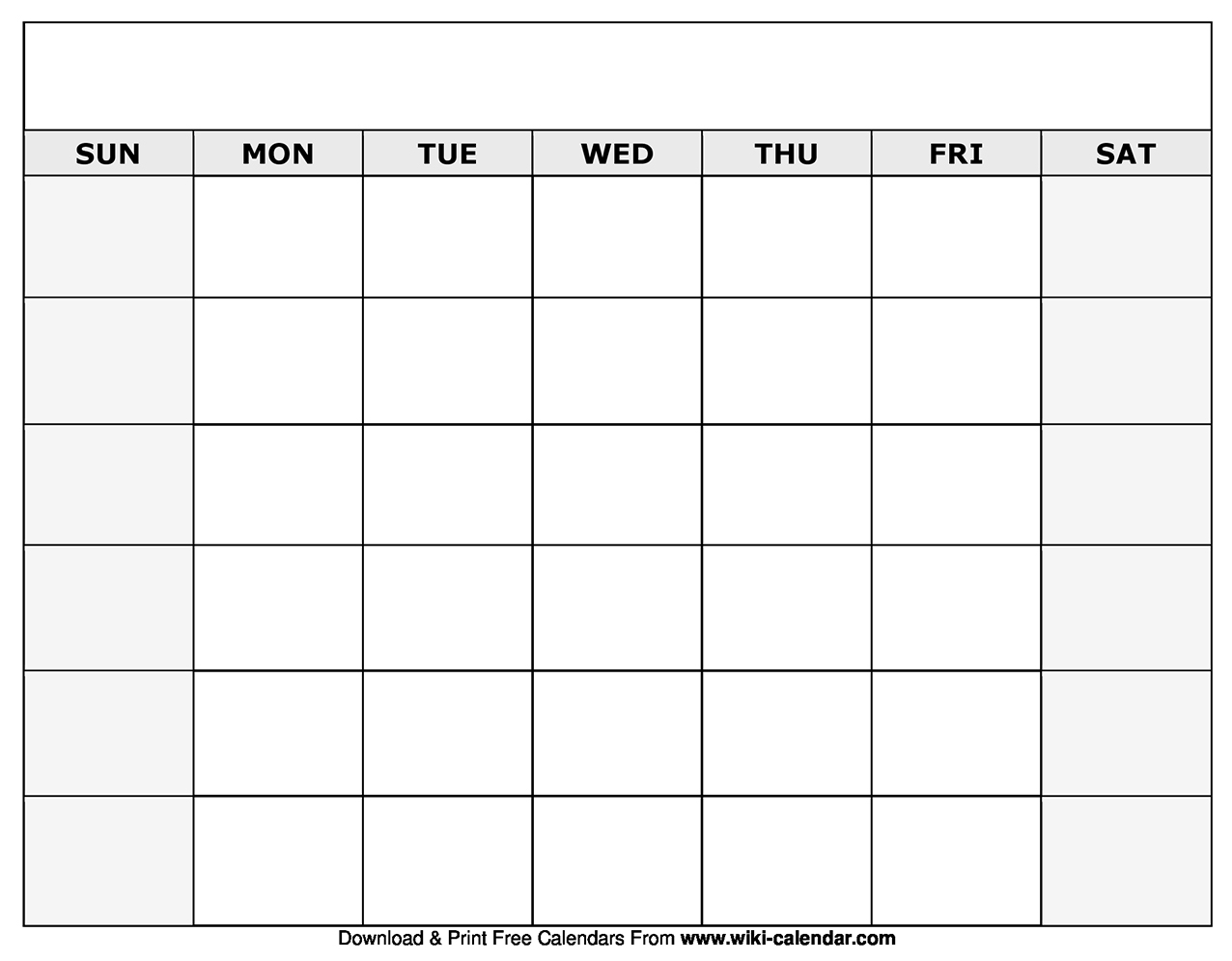 Printable Blank Calendar Templates for Blank Calendar For A Month