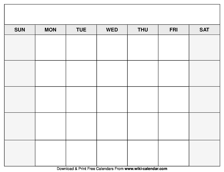 Printable Blank Calendar Templates in Free Printable Blank Calendar Template