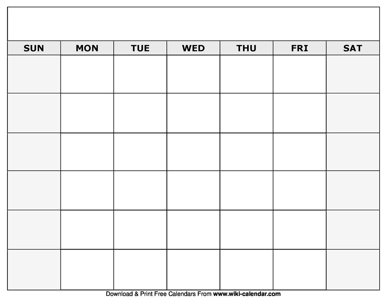 Printable Blank Calendar Templates pertaining to Printable Editable Monthly Calendar Template