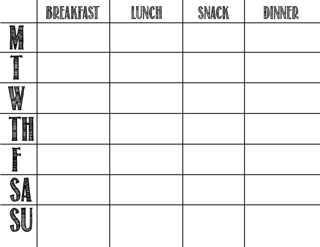 Printable Blank Chart Templates 08 | Meal Prep Planner Templates In in Calendar Weekly Menu Print Outs