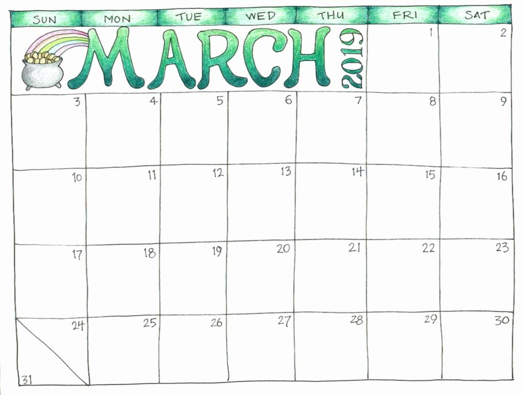 Printable Blank Coloring Calendar 2019 Free Printable 2019 with Free Coloring Calendars For June