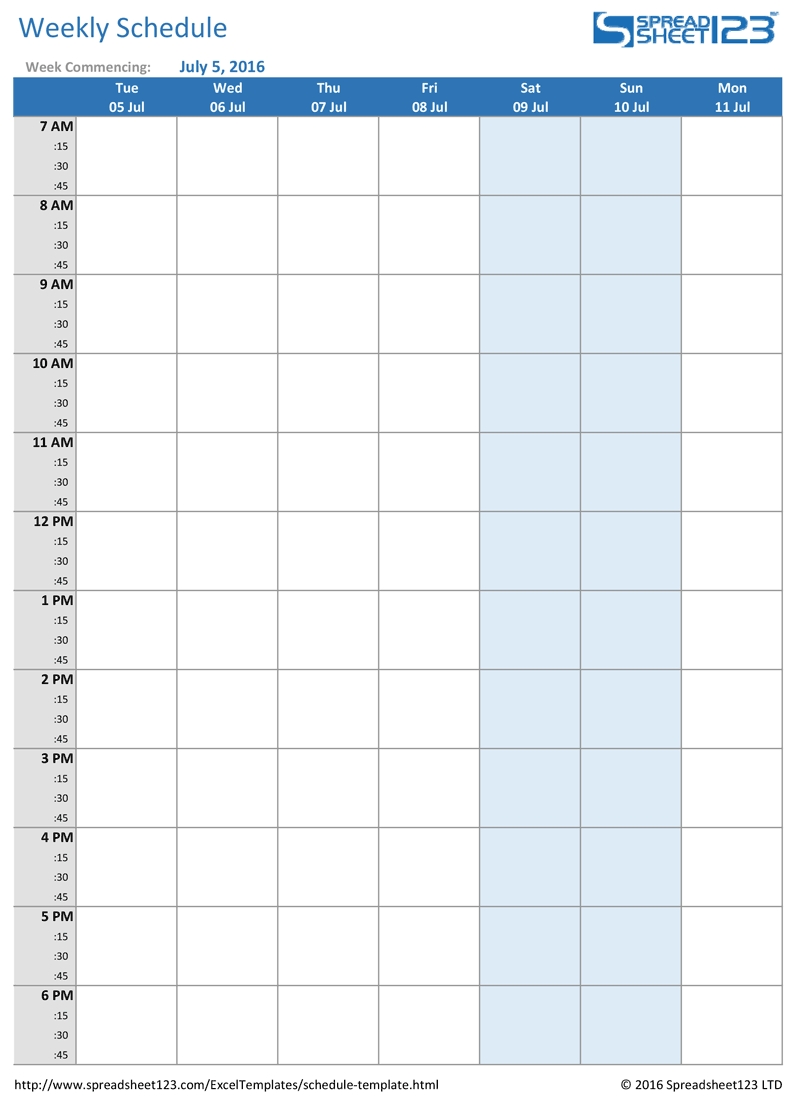Printable Blank Daily Schedule Template Calendar Weekly Planner | Smorad within Printable Blank Weekly Employee Schedule