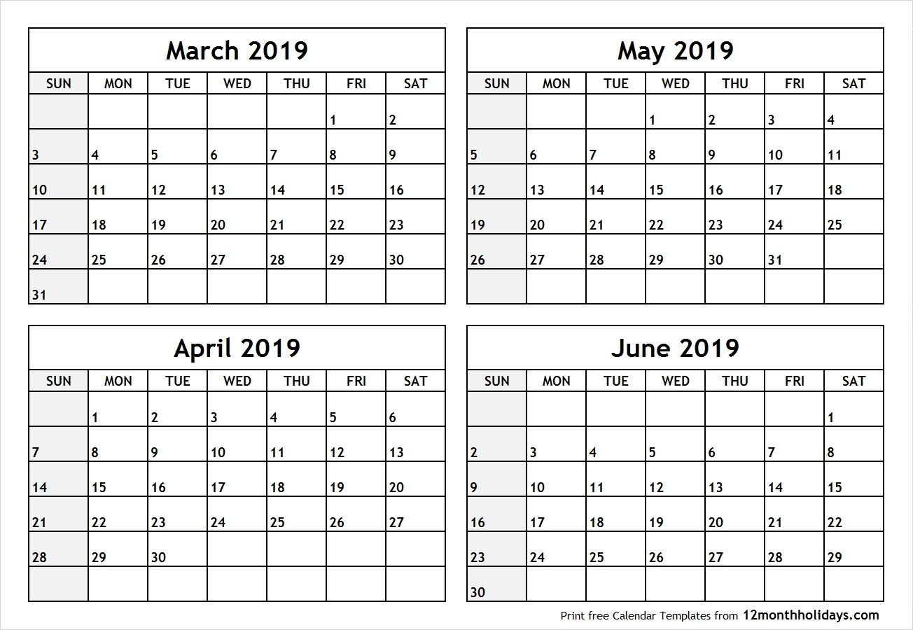 Printable Blank Four Month March April May June 2019 Calendar | Free with regard to Blank Four Month Calendar Template