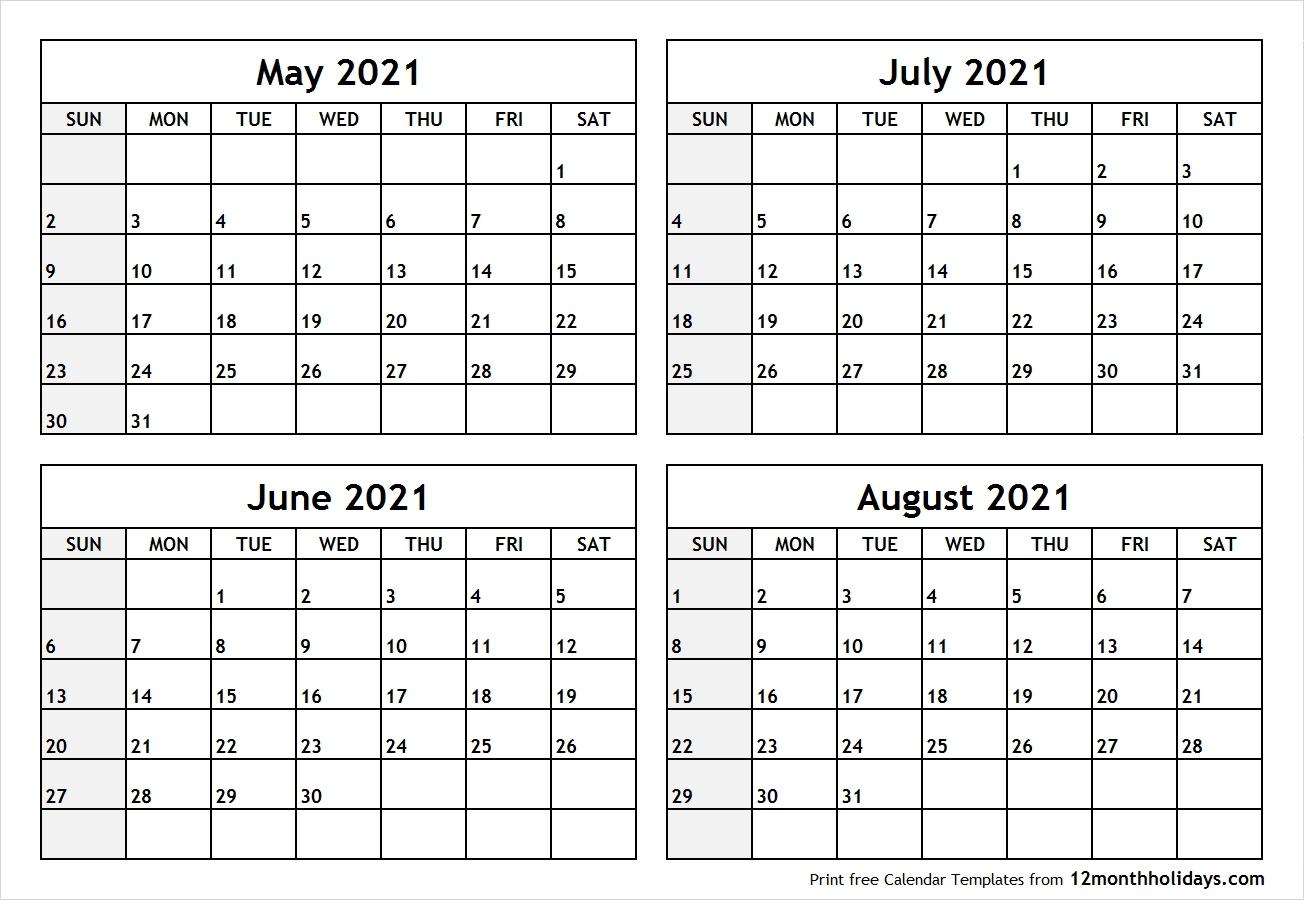 May June July August Calendar - Calendar Inspiration Design