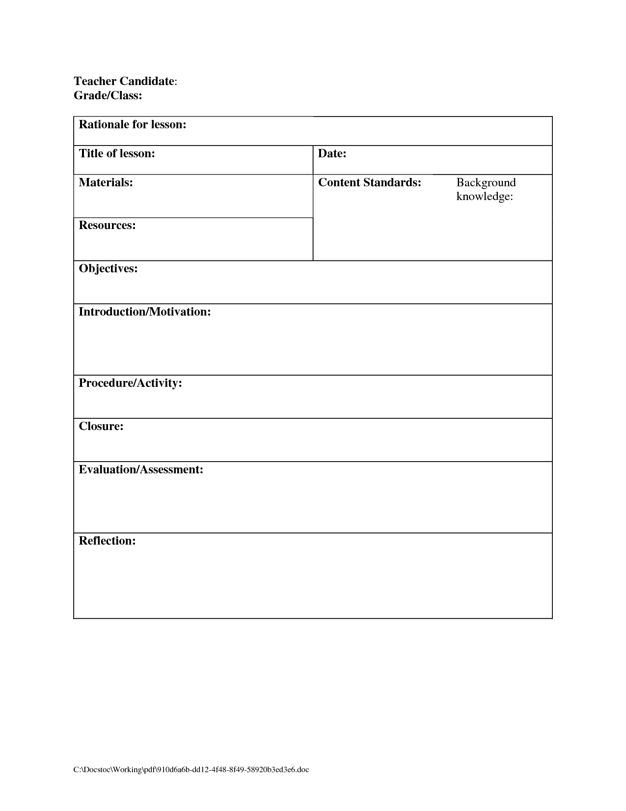 Printable Blank Lesson Plans Form For Counselors | Blank Lesson Plan in Catholic Daily Planner Template Printable Free
