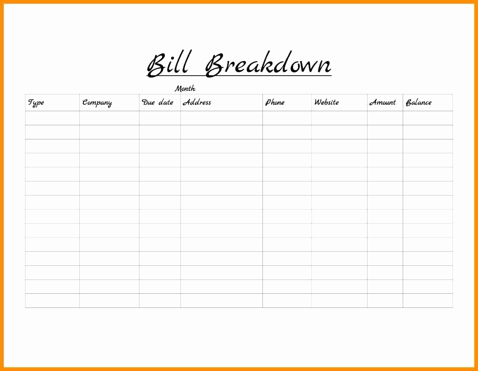 Printable Blank Paying Bills Organizer | Template Calendar Printable for Printable Monthly Bill Pay Organizer