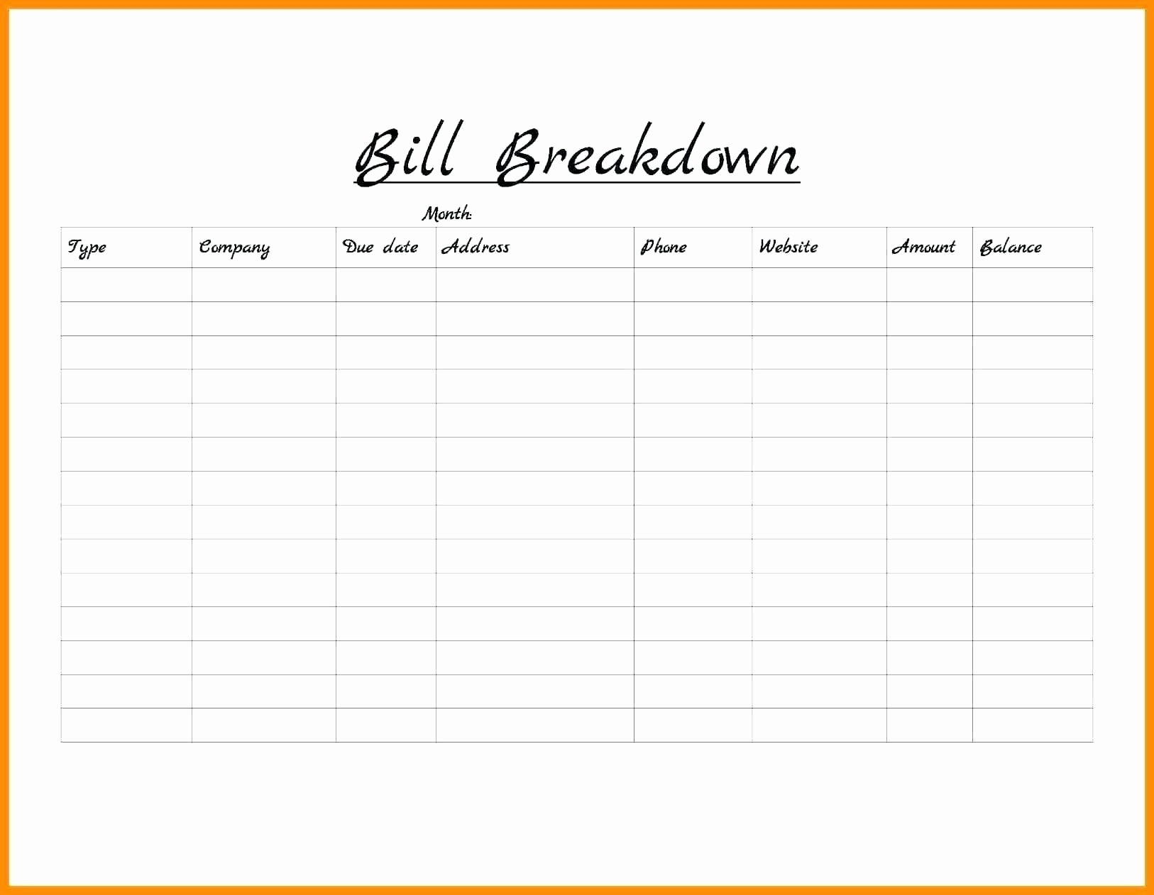 Printable Blank Paying Bills Organizer | Template Calendar Printable pertaining to Monthly Bill Payment Blank Worksheet