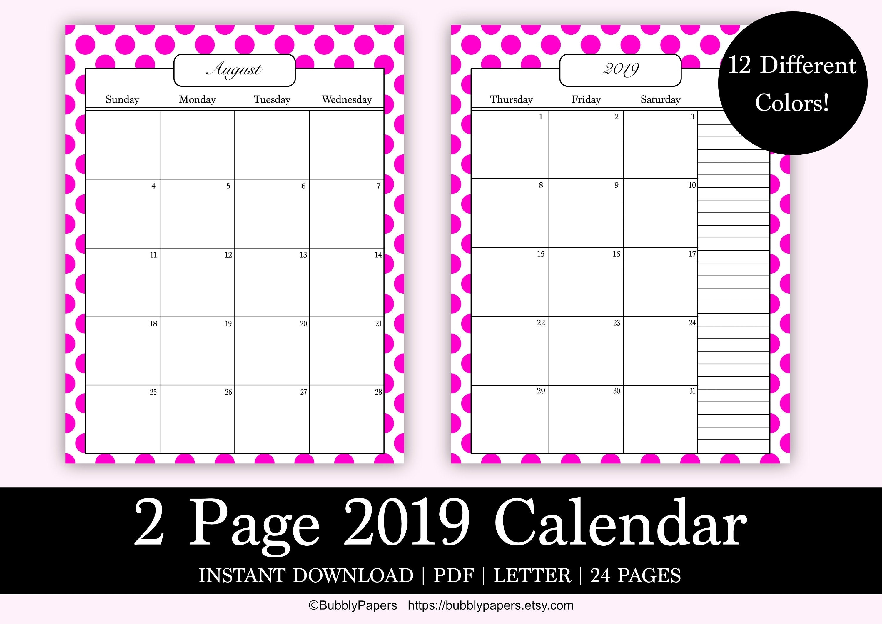 Printable Calendar 2 Page Month 2019 Planner Monthly Printable | Etsy with Monthly Calendar 2 Page To Print